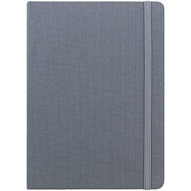 JAM Paper® Premium Fabric Textured Hardcover Journal with Elastic Closure, 5 x 7, Grey, Sold Individually (325Fa5x7gy)