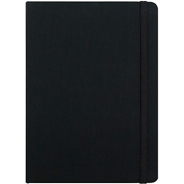 JAM Paper® Premium Fabric Textured Hardcover Journal with Elastic Closure, 5 x 7, Black, Sold Individually (325Fa5x7bl)