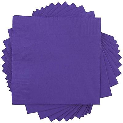 JAM Paper® Square Lunch Napkins, Medium, 6.5x6.5, Purple, 600/box (6255620728b)