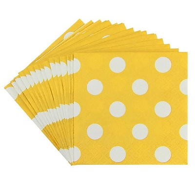 JAM Paper® Polka Dot Beverage Napkins, Small, 5 x 5, Yellow, 16/Pack (298NAPye)