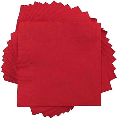 JAM Paper® Square Lunch Napkins, Medium, 6.5x6.5, Red, 600/box (6255620730b)