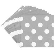 JAM Paper® Polka Dot Beverage Napkins, Small, 5 x 5, Silver, 16/Pack (298NAPslv)