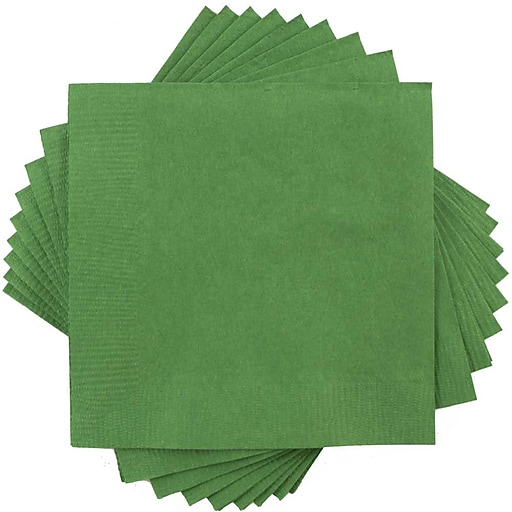 JAM Paper® Medium Lunch Napkins, 6 1/2 x 6 1/2, Green, 600/Box (255628201b)