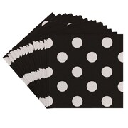 JAM Paper® Polka Dot Beverage Napkins, Small, 5 x 5, Black, 16/Pack (298NAPbl)
