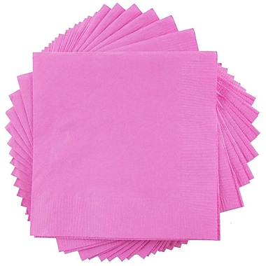 JAM Paper® Square Lunch Napkins, Medium, 6.5x6.5, Fuchsia Pink, 600/box (255621948b)
