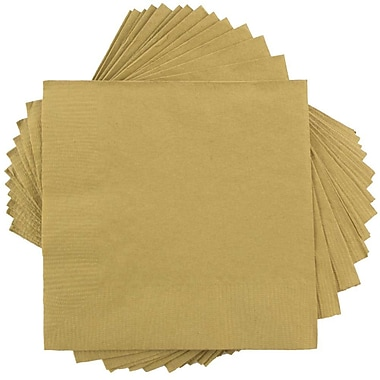 JAM Paper® Square Lunch Napkins, Medium, 6.5x6.5, Gold, 600/box (356028328b)