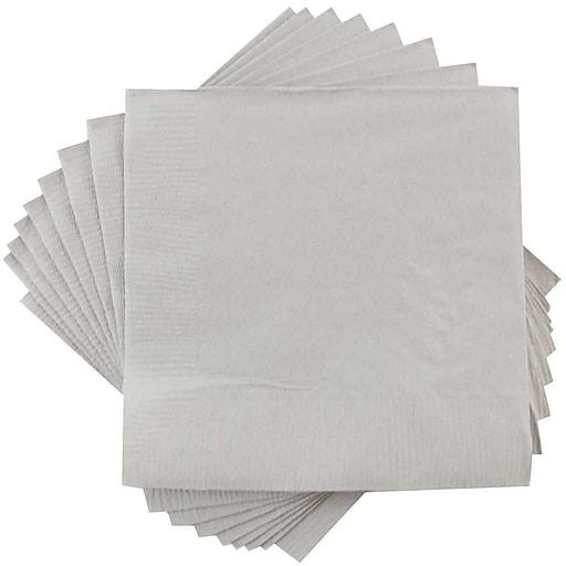 JAM Paper® Small Beverage Napkins, 5 x 5, Silver, 600/Box (255628826b)