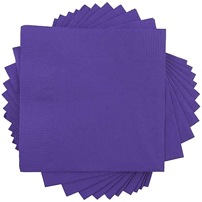JAM Paper® Beverage Napkins, Small, 5x5, Purple, 600/box (5255620727b)