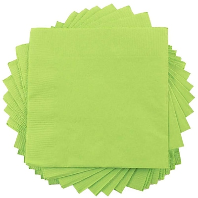 JAM Paper® Beverage Napkins, Small, 5x5, Lime Green, 600/box (5255620723b)