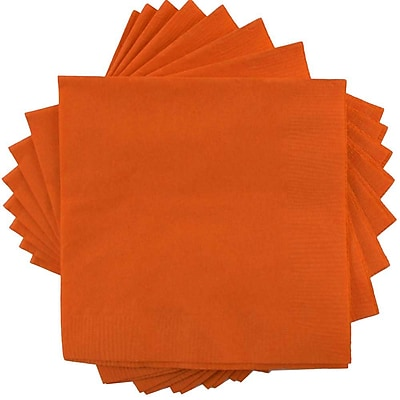 JAM Paper® Beverage Napkins, Small, 5x5, Orange, 600/box (5255620725b)