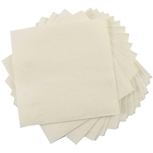 JAM Paper® Small Beverage Napkins, 5 x 5, Ivory, 600/Box (5255620721b)