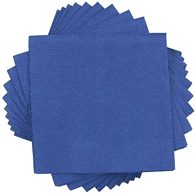 JAM Paper® Square Lunch Napkins, Medium, 6.5x6.5, Blue, 600/box (6255620718b)