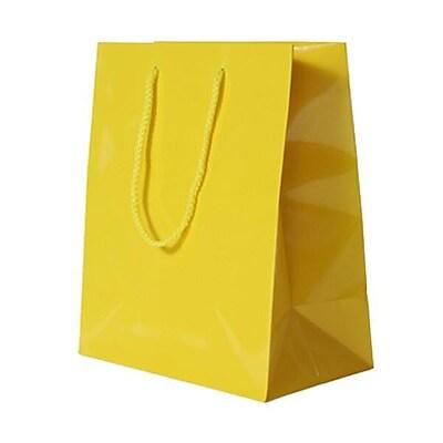 JAM Paper® Glossy Gift Bags, Medium, 8 x 4 x 10, Yellow, 6/pack (672GLyea)