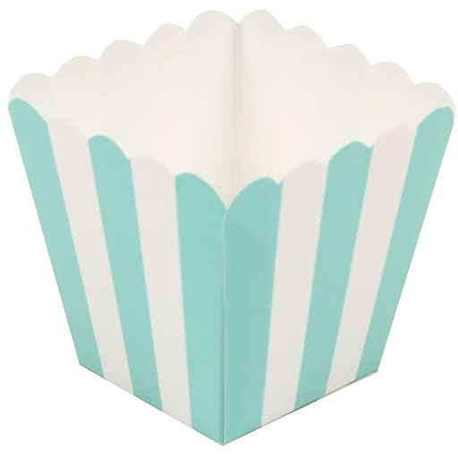 JAM Paper® Popcorn Boxes, 3 x 3, Aqua Blue Striped, 10/Pack (347027071)