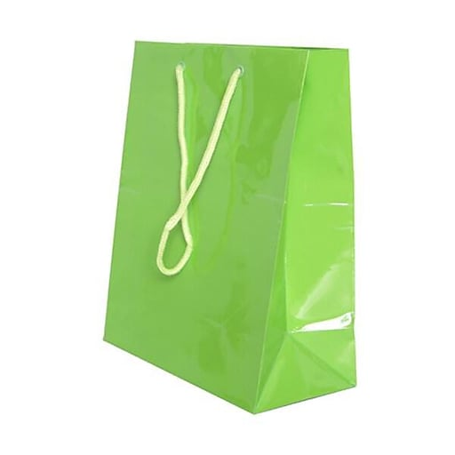 JAM Paper® Glossy Gift Bags with Rope Handles, Medium, 8 x 4 x 10, Lime Green, 6 Bags/Pack (672GLlga)
