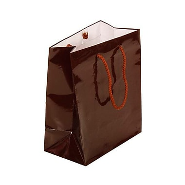 JAM Paper® Glossy Gift Bags, Medium, 8 x 4 x 10, Chocolate Brown, 6/pack (24119128a)