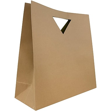 JAM Paper® Heavy Duty Die Cut Gift Bags, Large, 15 x 5 1/2 x 15, Kraft Brown, 3/pack (895DCkra)