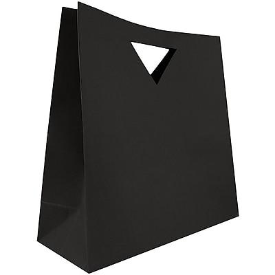 JAM Paper® Heavy Duty Die Cut Gift Bags, Large, 15 x 5 1/2 x 15, Black, 3/pack (895DCbla)