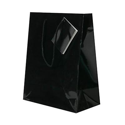 JAM Paper® Glossy Gift Bags, Medium, 8 x 4 x 10, Black, 6/pack (672GLbla)