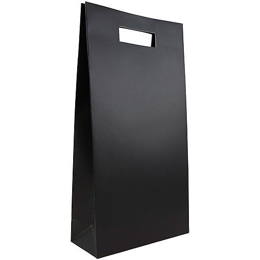 JAM Paper® Heavy Duty Die Cut Double Bottle Wine Bags, 8 1/4 x 3 3/8 x 15 1/2, Black, 3 Bags/Pack (679DCbla)