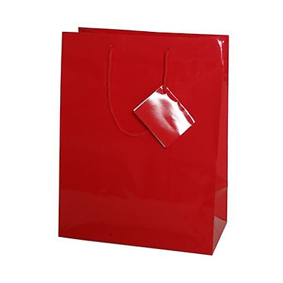 JAM Paper® Glossy Gift Bags, Large, 10 x 13 x 5, Red, 6/pack (673GLrea)