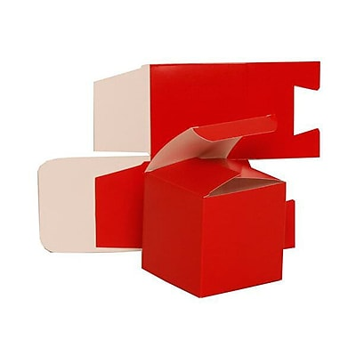 JAM Paper Glossy Gift Boxes, Small, 3.5 x 3.5 x 3.5, Red, 10/pack (2238319103b) 2633444