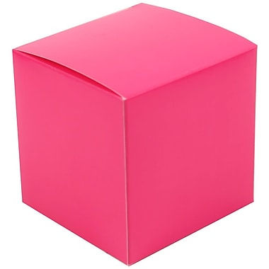 JAM Paper® Glossy Gift Boxes, Small, 3.5 x 3.5 x 3.5, Fuchsia,10/pack (2238319105b)