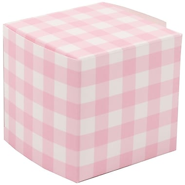 JAM Paper® Glossy Gift Boxes, Small, 2 x 2 x 2, Pink Gingham, 10/pack (238327085)