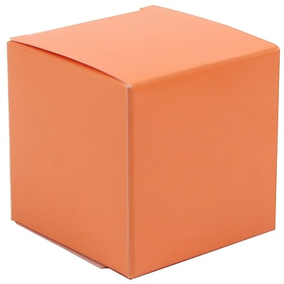 JAM Paper® Glossy Gift Boxes, Small, 2 x 2 x 2, Orange, 10/pack (238327081)