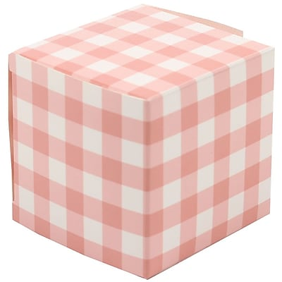 JAM Paper® Glossy Gift Boxes, Small, 2 x 2 x 2, Peach Gingham, 10/pack (238327091)