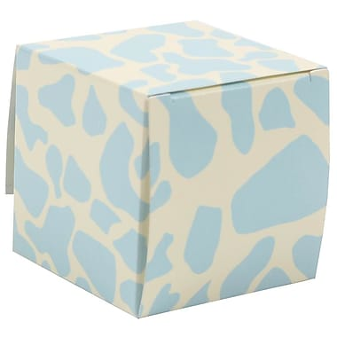 JAM Paper® Glossy Gift Boxes, Small, 2 x 2 x 2, Blue Giraffe, 10/pack (238326976a)
