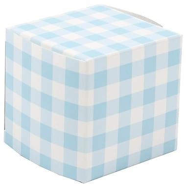 JAM Paper® Glossy Gift Boxes, Small, 2 x 2 x 2, Blue Gingham, 10/pack (238326974a)