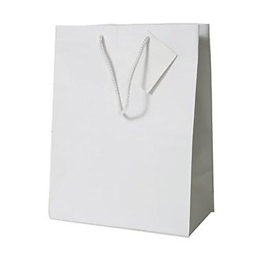 JAM Paper® Glossy Gift Bags, Medium, 8 x 4 x 10,White, 6/pack (672GLwha)