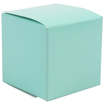 JAM Paper® Glossy Gift Boxes, Small, 2 x 2 x 2, Aqua, 10/pack (238326965a)
