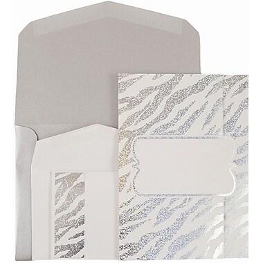 JAM Paper® Wedding Invitations, Combo, 1 small & 1 large, White Envelope White Silver Zebra Stripe, 50/pack (52610550siCO)