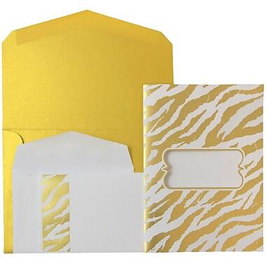 JAM Paper® Wedding Invitations, Combo, 1 small & 1 large, Gold Envelopes White Gold Zebra Stripe, 50/pack (5261045goCO)