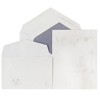 JAM Paper® Wedding Invitations, Combo, 1 small & 1 large, Cherub Hearts Design Wedding Invitation Sets, 50/pack (5266706peCO)