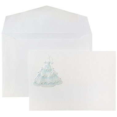 JAM Paper® Wedding Invitations, Small, 4 7/8 x 3 3/8, White Mint Princess Cards w/ White Envelopes, 100/pack (52681350)