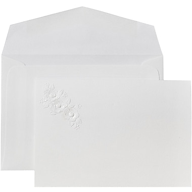 JAM Paper® Wedding Invitations, Small, 4 7/8 x 3 3/8, White Envelope White Embossed Floral Bouquet, 100/pack (52683950)