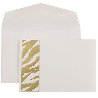 JAM Paper® Wedding Invitations, Small, 4 7/8 x 3 3/8, Gold Envelopes White Gold Zebra Stripe, 100/pack (52610450)
