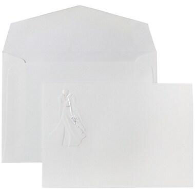 JAM Paper® Wedding Invitations, Small, 3 3/8 x 4 3/4, White Envelope White Bride & Groom Cards, 100/pack (52682070)