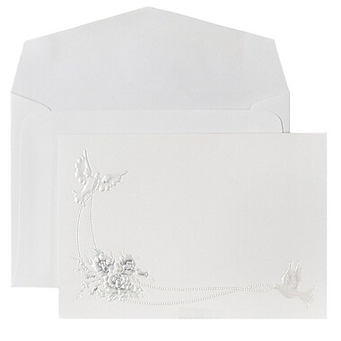 JAM Paper® Wedding Invitations, Small, 3 3/8 x 4 7/8, Periwinkle Emboss Doves Cards with White Envelopes, 100/pack (52667060)