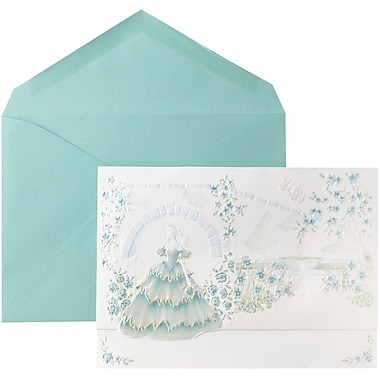JAM Paper® Wedding Invitations, Large, 5.5 x 7.75, White Princess Garden Cards w/ Mint Envelopes, 50/pack (5268135mi)