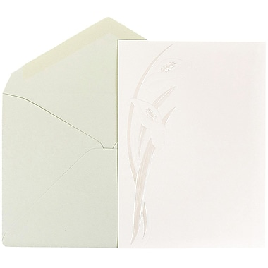 JAM Paper® Wedding Invitations, Large, 5.5 x 7.75, White with Pearl Calla Lily Design Mint Envelopes, 50/pack (5268901mi)