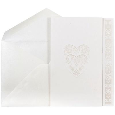JAM Paper® Wedding Invitations, Large, 5.5 x 7.75, White Floral Heart Design Cards w/ Pearlescent Envelopes, 50/pack (5269881pe)