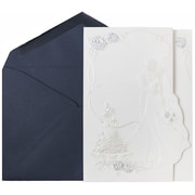 JAM Paper® Wedding Invitations, Large, 5.5 x 7.75, Cobalt Blue Envelope White Bride & Groom Cards, 50/pack (5268702co)