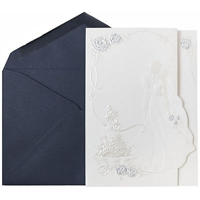 JAM Paper® Wedding Invitations, Large, 5.5 x 7.75, Cobalt Blue Envelope White Bride & Groom Cards, 50/pack (5268702co)