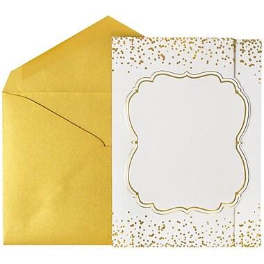 JAM Paper® Wedding Invitations, Large, 5.5 x 7.5, White Shimmer Gold Card w/ Gold Luster Envelopes, 50/pack (5269082go)