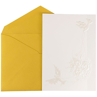 JAM Paper® Wedding Invitations, Large, 5.5 x 7.5, White Emboss Dove Cards w/ Gold Metallic Envelope, 50/pack (526975go)