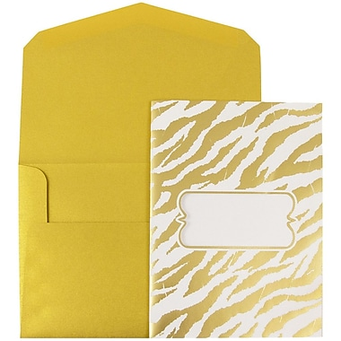 JAM Paper® Wedding Invitations, Large, 5.5 x 7.5, Gold Envelopes White Gold Zebra Stripe, 50/pack (5261045go)